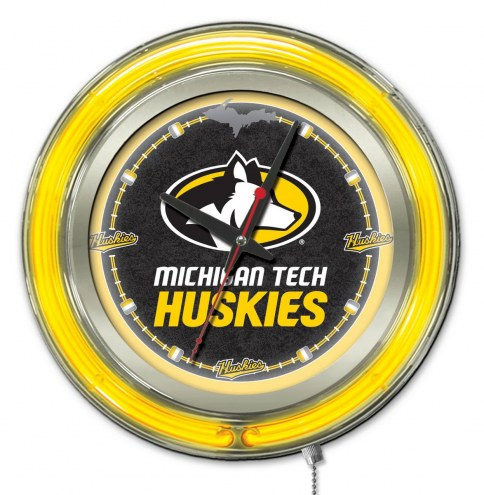 Michigan Tech Huskies Neon Clock