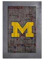 "Michigan Wolverines 11"" x 19"" City Map Framed Sign"