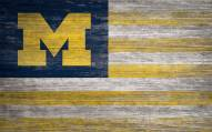 "Michigan Wolverines 11"" x 19"" Distressed Flag Sign"