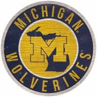 "Michigan Wolverines 12"" Circle with State Sign"