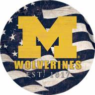 "Michigan Wolverines 12"" Team Color Flag Circle Sign"
