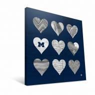 "Michigan Wolverines 12"" x 12"" Hearts Canvas Print"