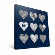"Michigan Wolverines 12"" x 12"" Hearts Canvas Print"