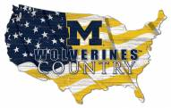 "Michigan Wolverines 15"" USA Flag Cutout Sign"