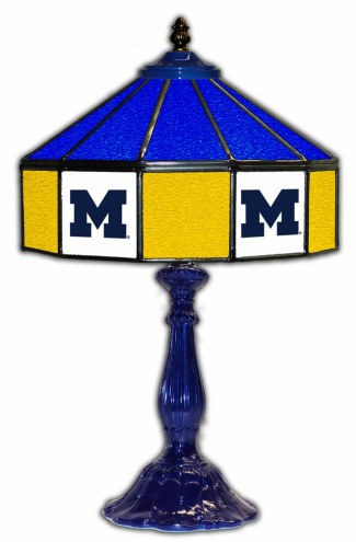 """Michigan Wolverines 21"""" Glass Table Lamp"""