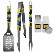 Michigan Wolverines 3 Piece Tailgater BBQ Set and Salt and Pepper Shakers