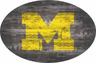 "Michigan Wolverines 46"" Distressed Wood Oval Sign"