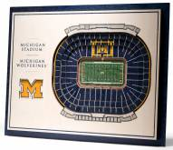 Michigan Wolverines 5-Layer StadiumViews 3D Wall Art