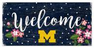 "Michigan Wolverines 6"" x 12"" Floral Welcome Sign"