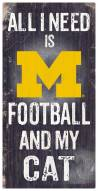"Michigan Wolverines 6"" x 12"" Football & My Cat Sign"