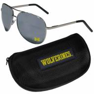 Michigan Wolverines Aviator Sunglasses and Zippered Carrying Case