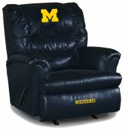 Michigan Wolverines Big Daddy Blue Leather Recliner