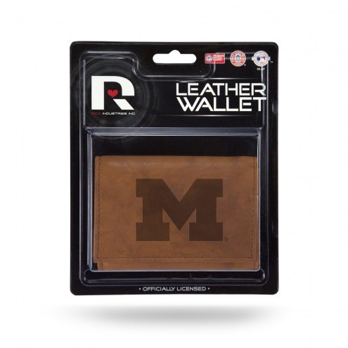 Michigan Wolverines Brown Leather Trifold Wallet