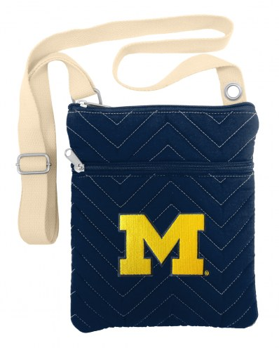 Michigan Wolverines Chevron Stitch Crossbody Bag