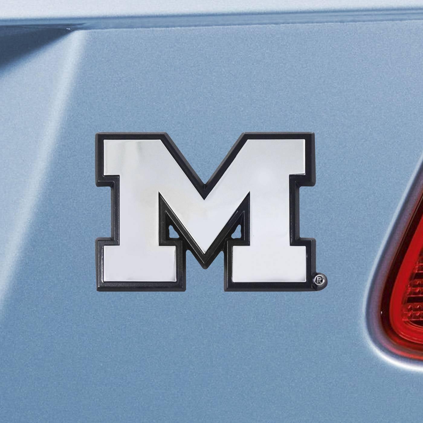 Michigan Wolverines Chrome Metal Auto Emblem