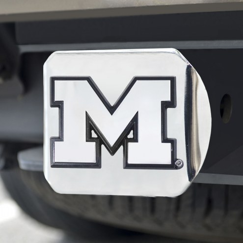 Michigan Wolverines Chrome Metal Hitch Cover