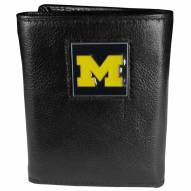Michigan Wolverines Deluxe Leather Tri-fold Wallet in Gift Box