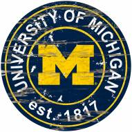Michigan Wolverines Distressed Round Sign