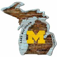 Michigan Wolverines Distressed State with Logo Sign