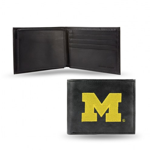Michigan Wolverines Embroidered Leather Billfold Wallet