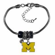 Michigan Wolverines Euro Bead Bracelet