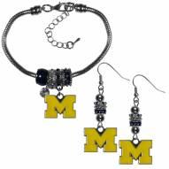 Michigan Wolverines Euro Bead Earrings & Bracelet Set