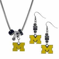 Michigan Wolverines Euro Bead Earrings & Necklace Set