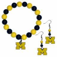 Michigan Wolverines Fan Bead Earrings & Bracelet Set
