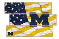Michigan Wolverines Flag 3 Plank Sign