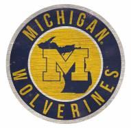Michigan Wolverines Round State Wood Sign