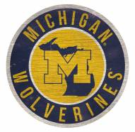 Michigan Wolverines Round State Wood Sign