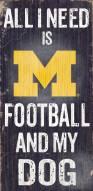 Michigan Wolverines Football & Dog Wood Sign