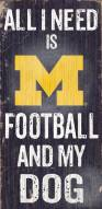 Michigan Wolverines Football & Dog Wood Sign