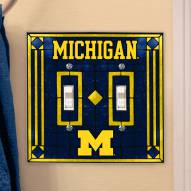 Michigan Wolverines Glass Double Switch Plate Cover