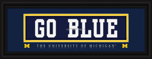 """Michigan Wolverines """"Go Blue"""" Stitched Jersey Framed Print"""