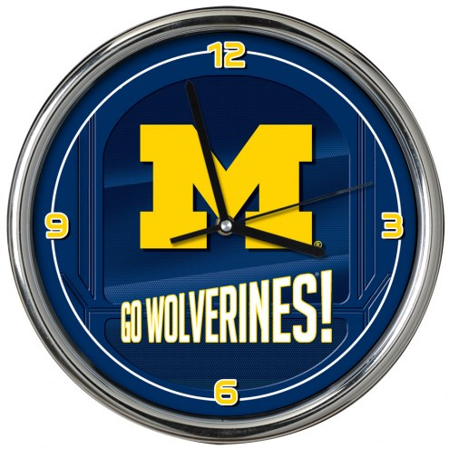 Michigan Wolverines Go Team Chrome Clock