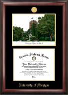 Michigan Wolverines Gold Embossed Diploma Frame with Campus Images Lithograph