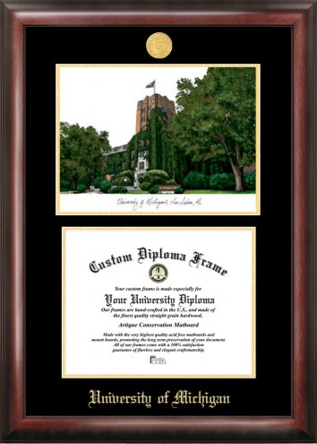 Michigan Wolverines Gold Embossed Diploma Frame with Lithograph