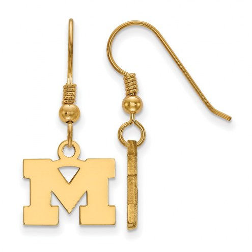 Michigan Wolverines Sterling Silver Gold Plated Extra Small Dangle Earrings