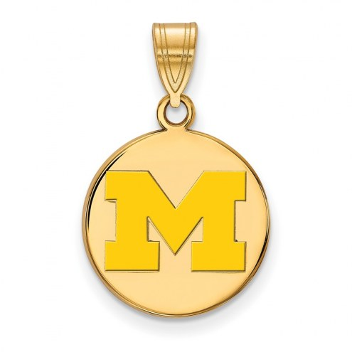 Michigan Wolverines Sterling Silver Gold Plated Medium Enameled Disc Pendant