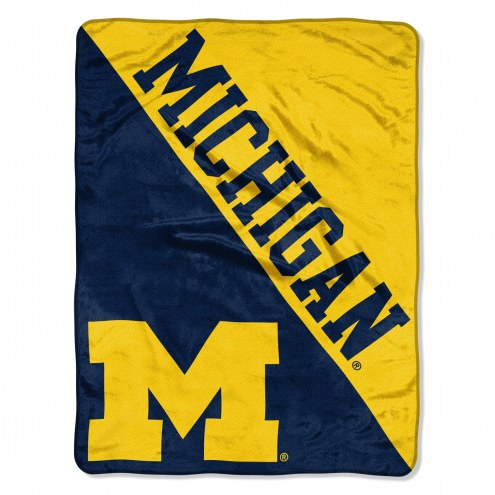 Michigan Wolverines Halftone Raschel Blanket