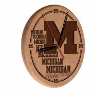 Michigan Wolverines Laser Engraved Wood Clock
