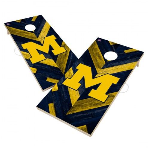 Michigan Wolverines Herringbone Cornhole Game Set