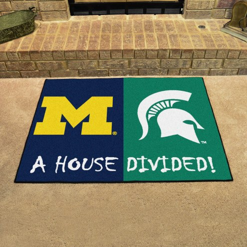 Michigan Wolverines/Michigan State Spartans House Divided Mat