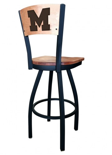 Michigan Wolverines Laser Engraved Logo Swivel Bar Stool