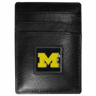 Michigan Wolverines Leather Money Clip/Cardholder