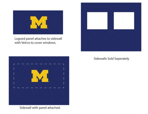 Michigan Wolverines Logo Canopy Sidewall Panel (Attaches to Window Sidewall)