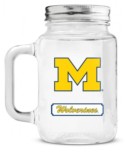 Michigan Wolverines Mason Glass Jar