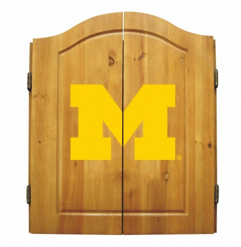 Michigan Wolverines NCAA Complete Dart Board Cabinet Set