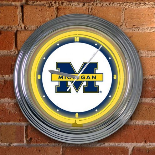 Michigan Wolverines NCAA Neon Wall Clock